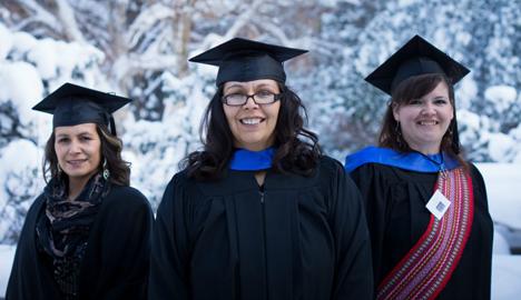 (From left) Debra Anderson, Yvonne Hamelin and Joline Pelletier are among the 48 proud graduates of UAlberta's Aboriginal Teacher Education Program—the largest class in the program's 10-year history. (Photo: DC Brandon, UAlberta)