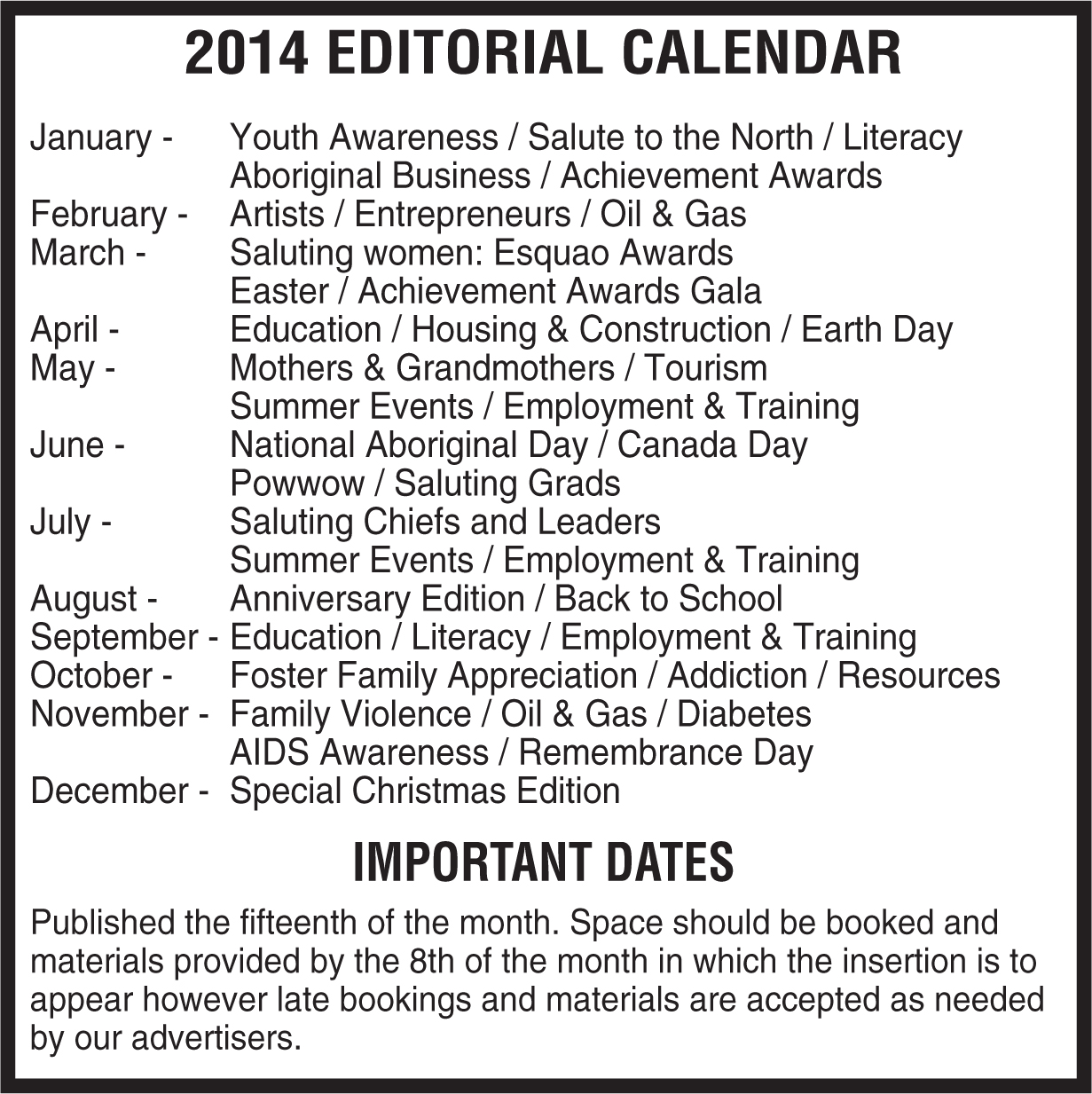 2014 editorial calendar