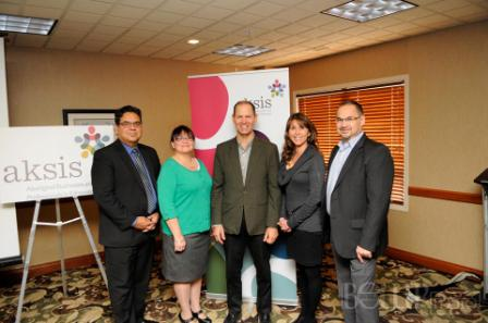 Left to Right: Aksis - Edmonton Aboriginal Business and Professional Association Board of Directors, Rocky Sinclair - 2nd Vice President, Debbie Houle - President, Terry Coyes - Executive Director, Rose Mueller - Director, and Errol Wilson - Treasurer Secretary. Photo Courtesy: Trevor Boller