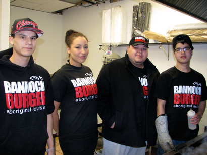 (l-r) Derrick Badger, Ashley Cooper, owner Jules Thomas and cook's helper Tristan Green are just a few of the staff needed that the busy Bannock Burger Restaurant