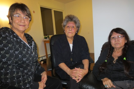 Left to right are three members of the Kokom Kisewatisowin Society: Lauri Gilchrist, Elsie Paul (president) and Urlene Omeasoo.