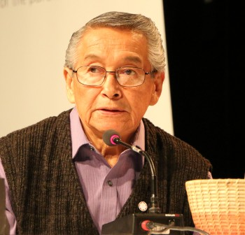 Lester Meltingtallow provides a statement at the TRC Commissioners Sharing Panel