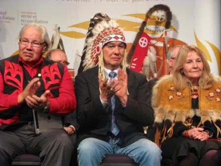TRC Commissioners (l-r) Justice Murray Sinclair, Chief Willie Littlechild and Dr. Marie Wilson take part in the TRC's Final Event Official Opening on March 27-30 in Edmonton