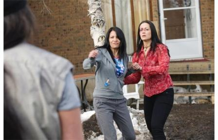 Michelle Thrush (as Gail Stoney) and Cheri Maracle (as Sarah Bull) in a Blackstone episode shot in Namao, just north of Edmonton.