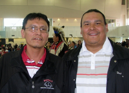 Rock Creek Drummers helped make an electric atmosphere at the recent Ben Calf Robe Powwow in Edmonton.      Photos and article by John Copley