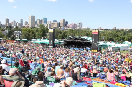 The Edmonton Fold Festival view from the top of the hill at  Gallagher Park in downtown Edmonton.