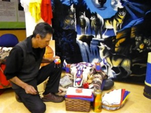 In addition to Amiskwaciy Academy Elder Whiskeyjack visits about 20 other schools each year