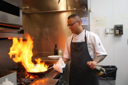 Executive Chef Shane Chartrand shows his fiery skills at the Sage Restaurant in the River Cree Resort & Casino in Enoch AB, just to the west of Edmonton.   Story and photos by Brandi Morin