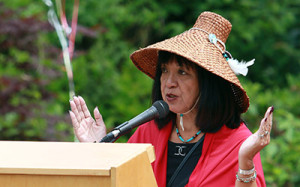 Chief Rhonda Larrabee of the Qayqayt First Nation provides a welcome at JIBC's National Aboriginal Day celebration