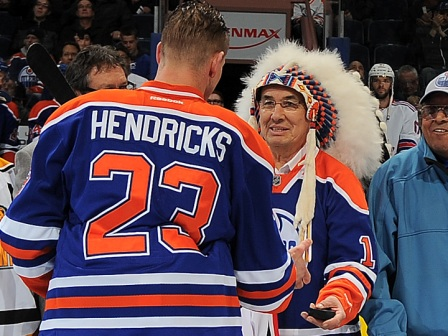 TRC Commissioner Wilton Littelchild is a true advocate of sports and education. Pictured above with Oiler Matt Hendricks at the Celebration of First Nations Hockey event held earlier this year in Edmonton    Photo courtesy Edmonton Oilers