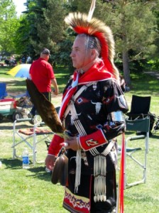 Ojibwe Odawa Potawatomi (Three Fires Confederacy) Powwow Dancer Henry Shwanda takes a break from the 2014 Powwow Trail to participate in NAD celebration in St. Albert