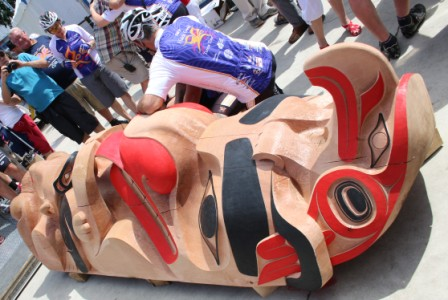 1,000 pound red cedar Haida Gwaii totem pole arrives in downtown Edmonton.   Story and photos by Terry Lusty