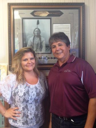 Alberta Native News reporter Brandi Morin with Chief Clarence Louie