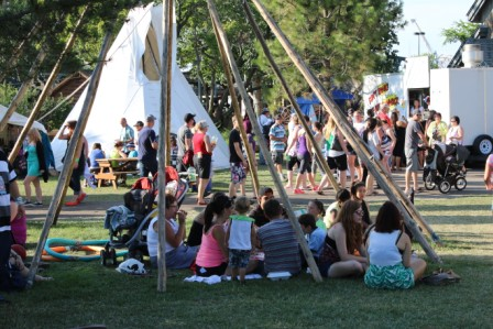 Scores of visitors arrived daily at the Kiyanaw village site during K-Days in Edmonton.  Article and  photos by Terry Lusty