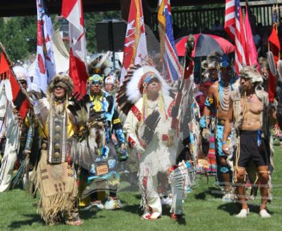 The Grand Entry at the Kamloopa Powwow