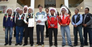 The Chiefs of Treaty 6 gathered at City Hall  with Edmonton Mayor Don Iveson to commemotate Treaty 6 Recognition Day