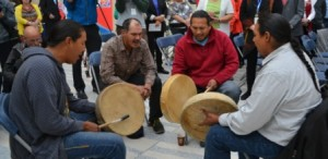The Treaty 6 Recogntion Day event included a pipe ceremony and First Nation drumming and singing.