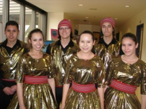 Some of the MCFS Dancers (l-r) Jordan Langford, Jolene Langford, Luc Gauthier, Jillian Langford, Joel Gladue and Joda Langford.   Photo and article by John Copley