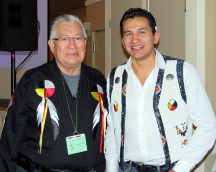 Elder Charles Wood and Keynote Speaker Wab Kinew