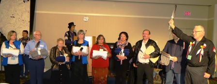 Elder Charles Wood salutes his fellow Eagle Feather recipients during Treaty 6 Educators Conference (