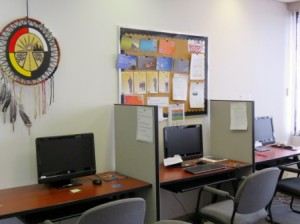 Five computer stations are available for job seekers preparing resumes and application forms.