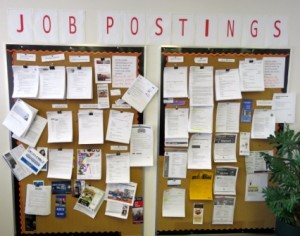 The on-site job board offers an array of potential employment opportunties