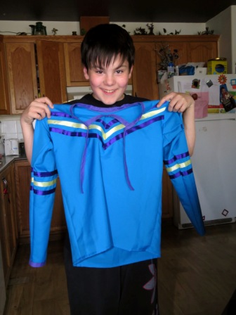 12 year old Gabriel Brown-Matchee shows off the ribbon short he made with some help from his sister, Kennedy.