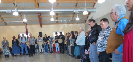 1209   Elders wait for their closing prayer at the recent Elder's Grand Counsel gathering in Edmonton's river valley near the Fox Farms and Whitemud Drive.