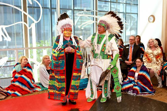 Bow Valley College President and CEO Sharon Carry was honoured to receive a Blackfoot name and other blessings to recognize her outstanding contribution to lifelong learning for Aboriginal students.  (Photo supplied)