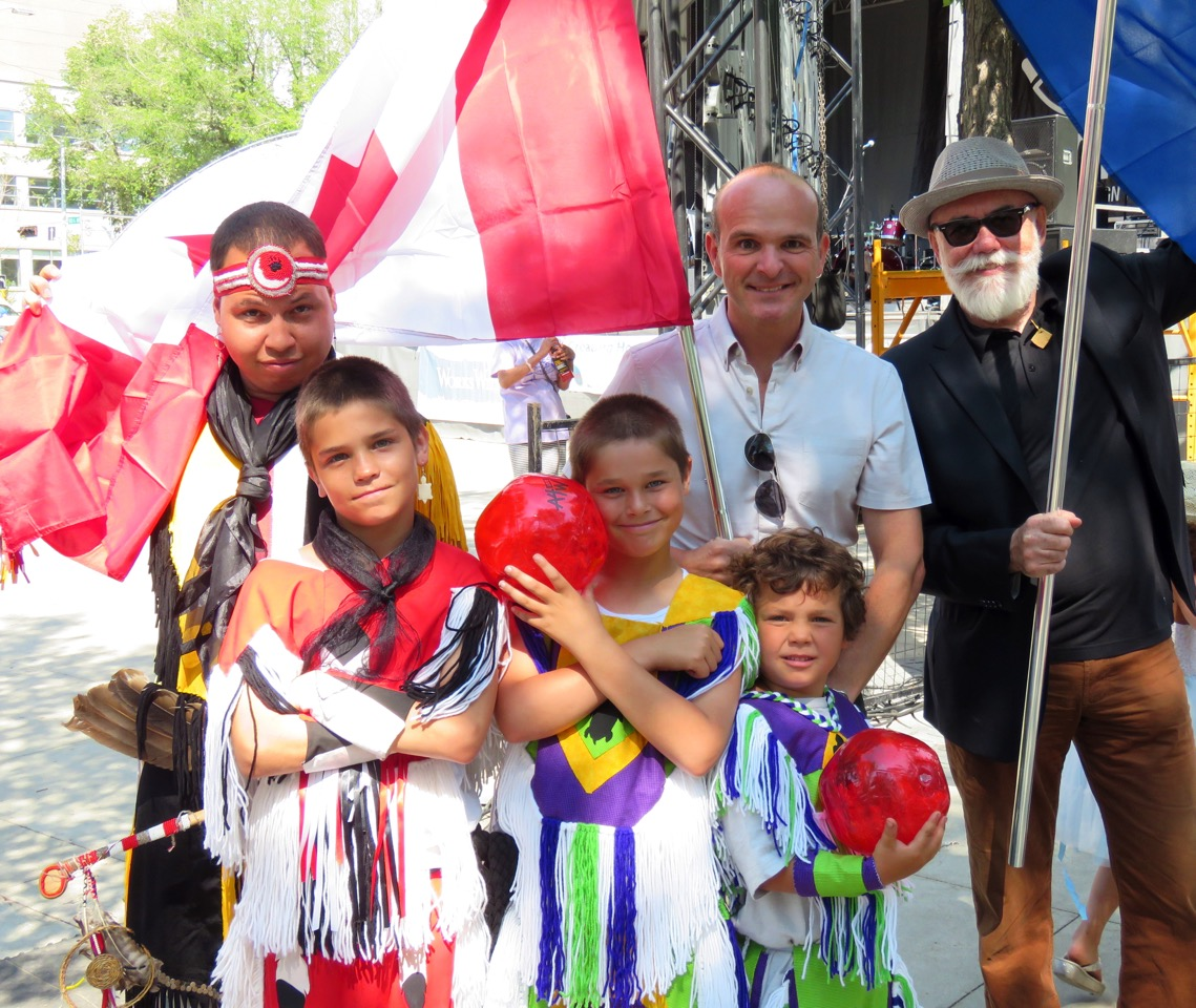 City Councillor Scott McKeen introduces dancers from Branford, Manitoba to NAD at Churchill Square