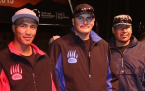 These three young men - (l-r) RAymond Nakogee, Darren Hughie and Edmond Etherington - walked all the way to Ottawa  from Attawapiskat, over 2000 km. to honour residential school survivors.