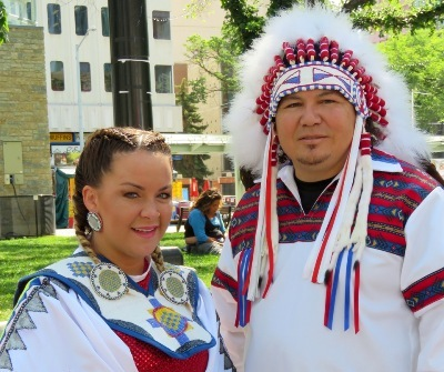 Papaschase Chief Calvin Bruneau and dancer Sheena Papin (Enoch) prepare to participate in Churchill Squares NAD 2015 event.