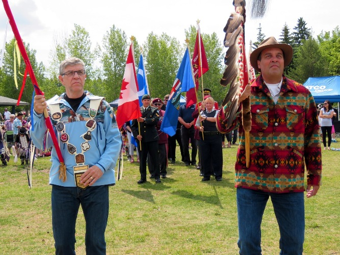 St. Albert Mayor Nolan Crouse leads the Grand Entry for city's 2015 NAD event at Lion's Park.