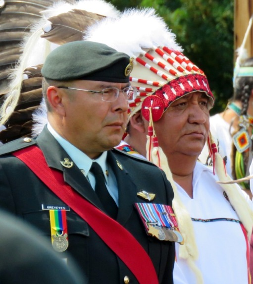Canadian Army Master Warrant Officer Grant Greyeyes and Treaty 8 Grand Chief Steve Courtoreille
