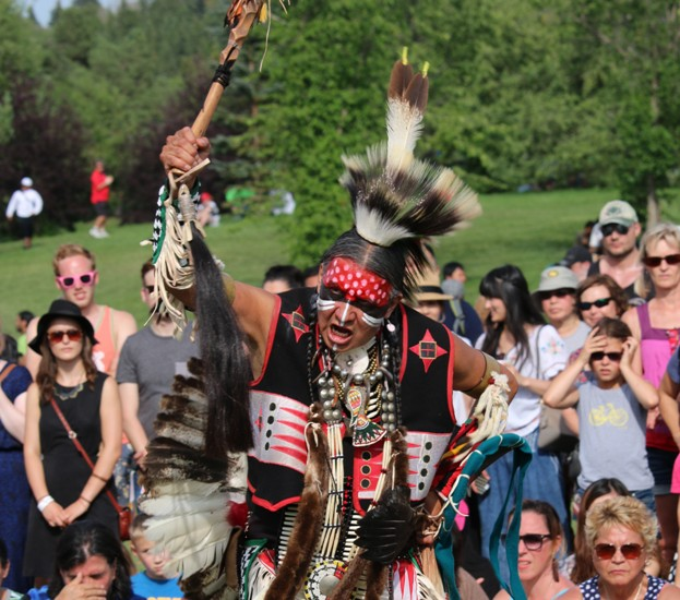 Donny Rain performing at the Aboriginal Pavilion. Photo by Terry Lusty