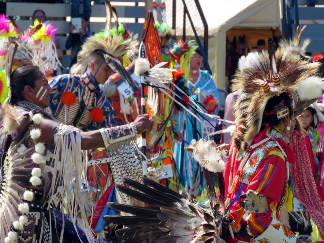 Colourful regalia added to the festivity at the Poundmaker's Powwow.