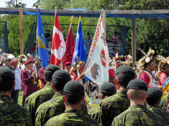 Several dozen Bold Eagle members joined the Grand Entry at the Poundmakers Powwow held earlier this month and they later showcased precison drills[ Article and photos by John Copley
