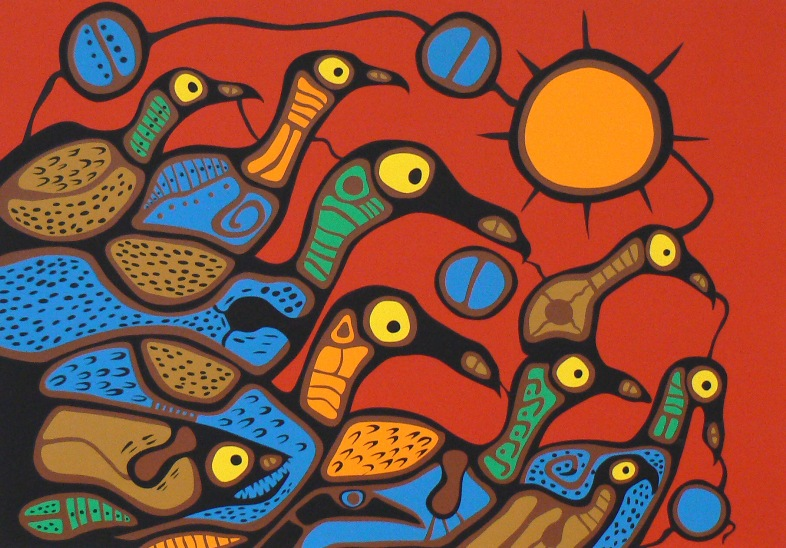 Loon Communication by Norval Morrisseau, on exhibit at Bearclaw Gallery