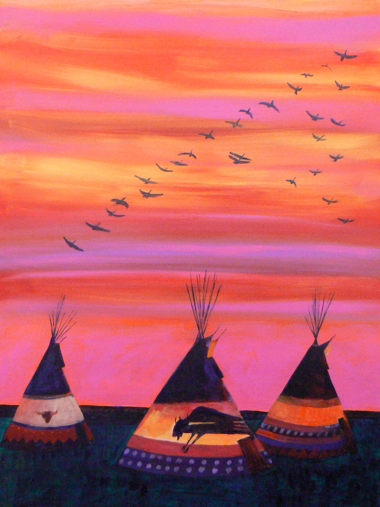 Sunset Travellers by Linus Woods, on exhibit at Bearclaw Gallery