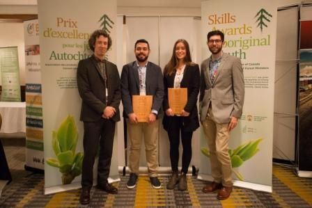 L to R, Etienne Bélanger, FPAC Forestry Director, Patrice Bellefleur and Taylor Wale, 2015 Aboriginal Youth Skills Award Winners and Kris Bergmann with the Canadian Council of Forest Ministers Secretariat. The award targets Aboriginal students with a demonstrated commitment to their field of study and a career in the revitalized forest sector.