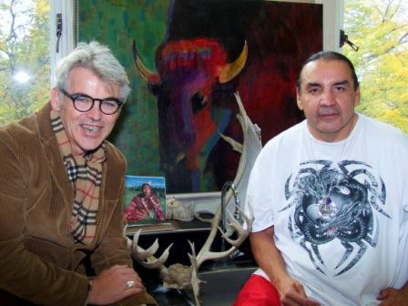 Highland Jr. High School Principal Brad Burns and Artist-in-Residence Linus Woods