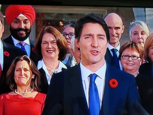 Prime Minister Justin Trudeau with some members of his new cabinet.
