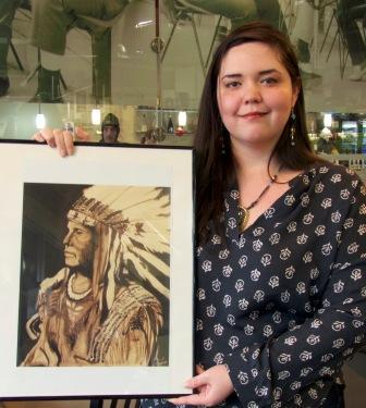 """Artisan Sarah Buffalo's painting of """"The Chief."""""""