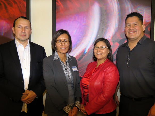 (l-r) Treaty 6 Grand Chief Chief Tony Alexis, Gina Potts COO of A3 Limited, SIAFN Executive Director Charlene Bruno and Derantech President MIke Deranger.