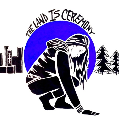 """The above lino print by Erin Konsmo, entitled """"The Land is Ceremony"""" is part of the Onaman Collective, an intiative created by Konsmo, Christi Belcourt and Linus Murdoch to connect youth to land, traditional knowledge, language and Elders through art and land-based activities."""
