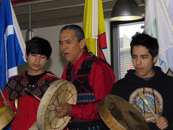 Elder Francis Whiskeyjack is joined by student Lucas Tremblay (l) and former Amiskwaciy student Cory Cardinal, who now attends the University of Alberta.