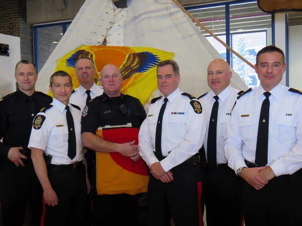 The Edmonton Police Service is one of Amiskwaciy Academy's active community partners. EPS members attending the 2015 Christmas Feast included (l-r) A/Inspector Jonathan Coughlan of NW Division; Superintendent Greg Preston of Downtown Division; Superintendent Terry Rocchio of Operational Support Division; Constable Jeff Thomsen of NW Division; Inspector Ed McIsaac of Downtown Division; Inspector Graham Hogg of Police Communications Branch and A/Superintendent Darrin Balanik of NW Division.