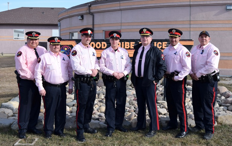 Members of the Blood Tribe Police Force took part in Pink Shirt Day on Feb 24 to show their support for National Anti-Bullying Day.