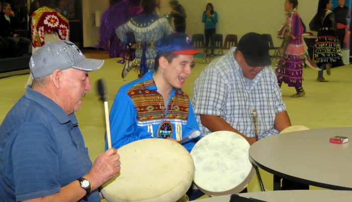 A number of drummers joined in to add their beat to a dozen different songs during the school's FNMI Family night celebration.