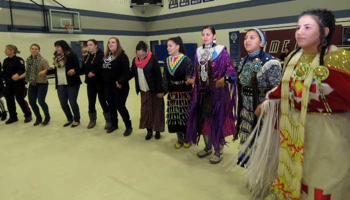 The school's Rainbow Spirit Dance Group participated during and after the late-afternnon mini Round dance.
